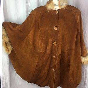 Vintage Suede Leather Fur (Faux?) Trim Poncho Cape